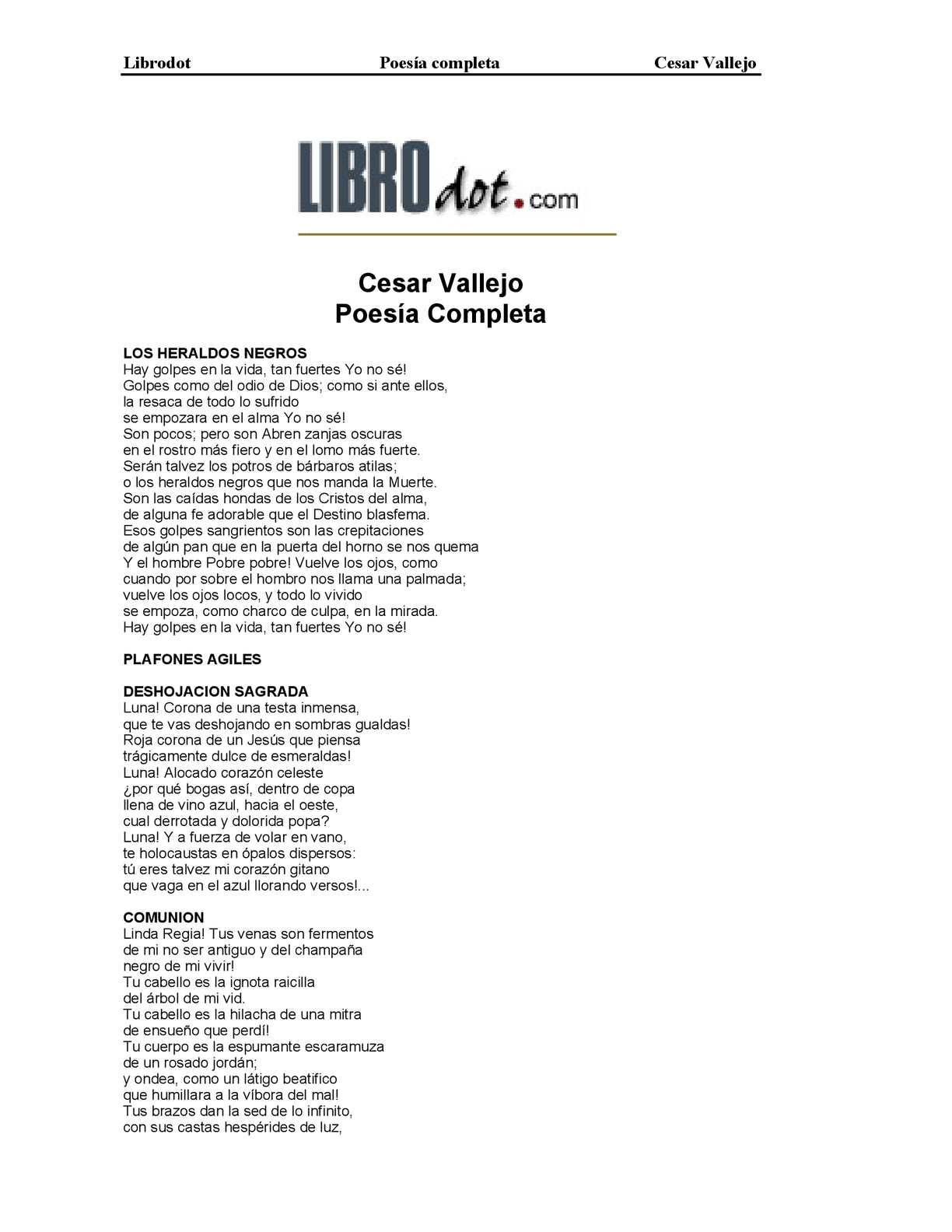 Poema Los Heraldos Negros Cesar Vallejo