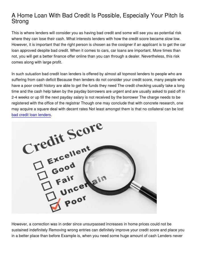 Calameo A Home Loan With Bad Credit Is Possible Especially Your Pitch Is Strong