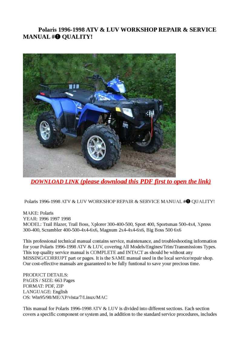 Calaméo Polaris 1996 1998 Atv Luv Work Repair Service