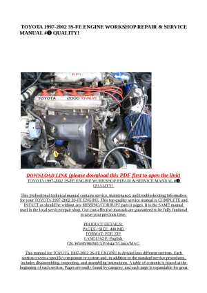 Calaméo  TOYOTA 19972002 3SFE ENGINE WORKSHOP REPAIR