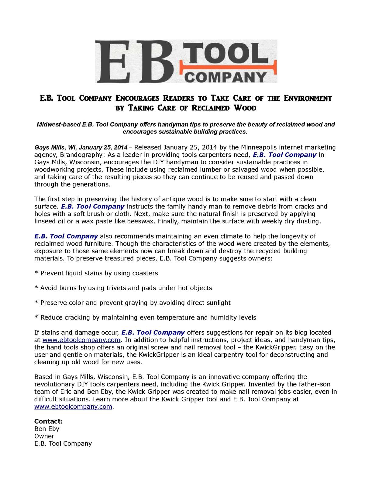 e b tool company encourages readers