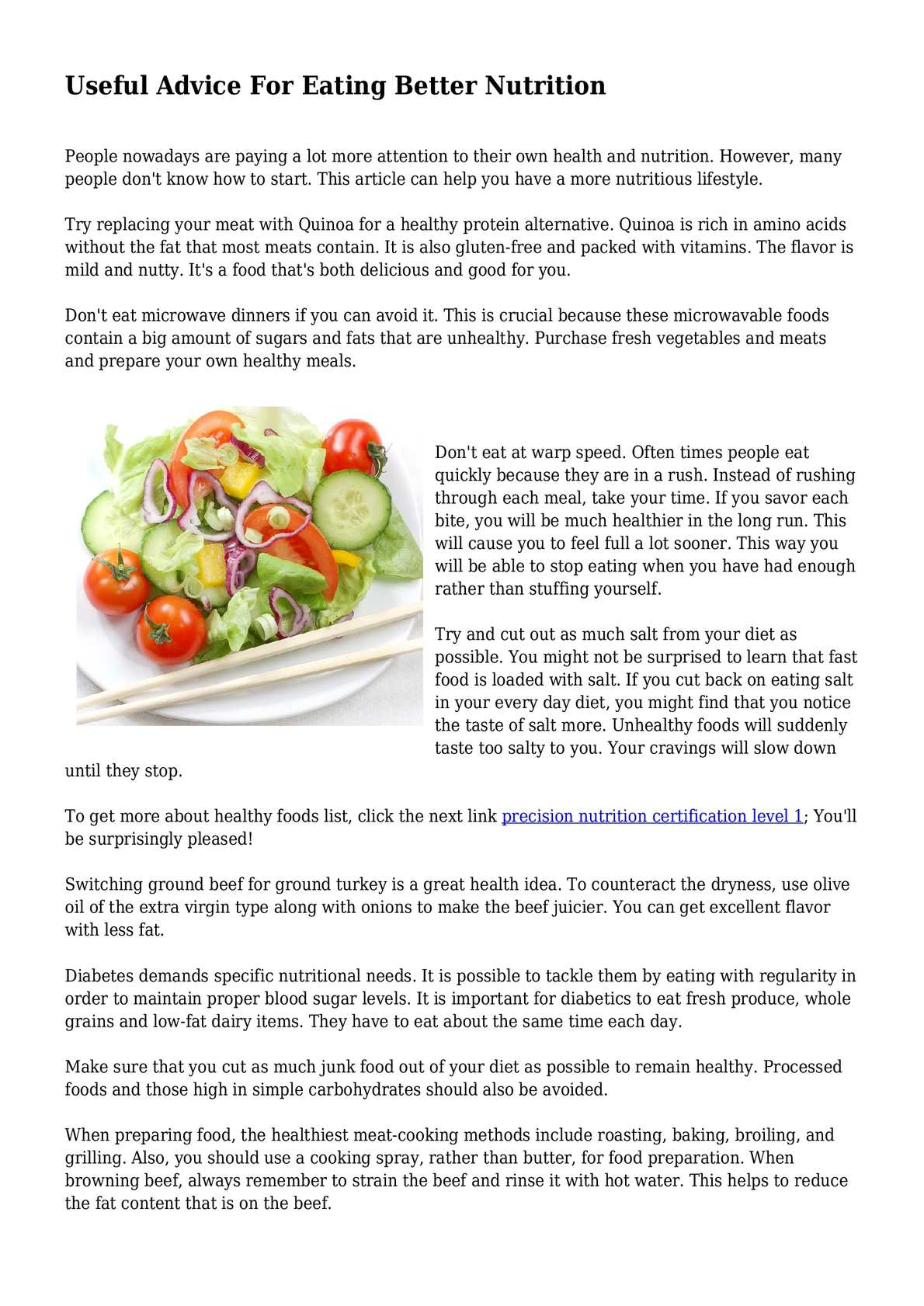 useful advice for eating better nutrition