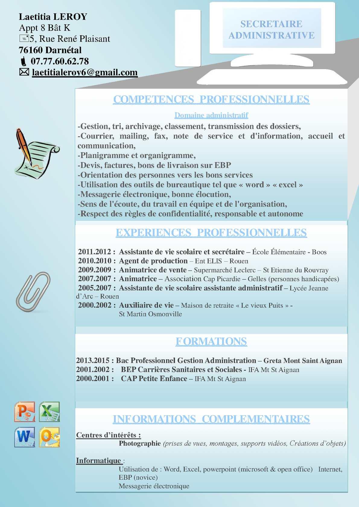 Calameo Cv Secretaire Adminitrative Doc2