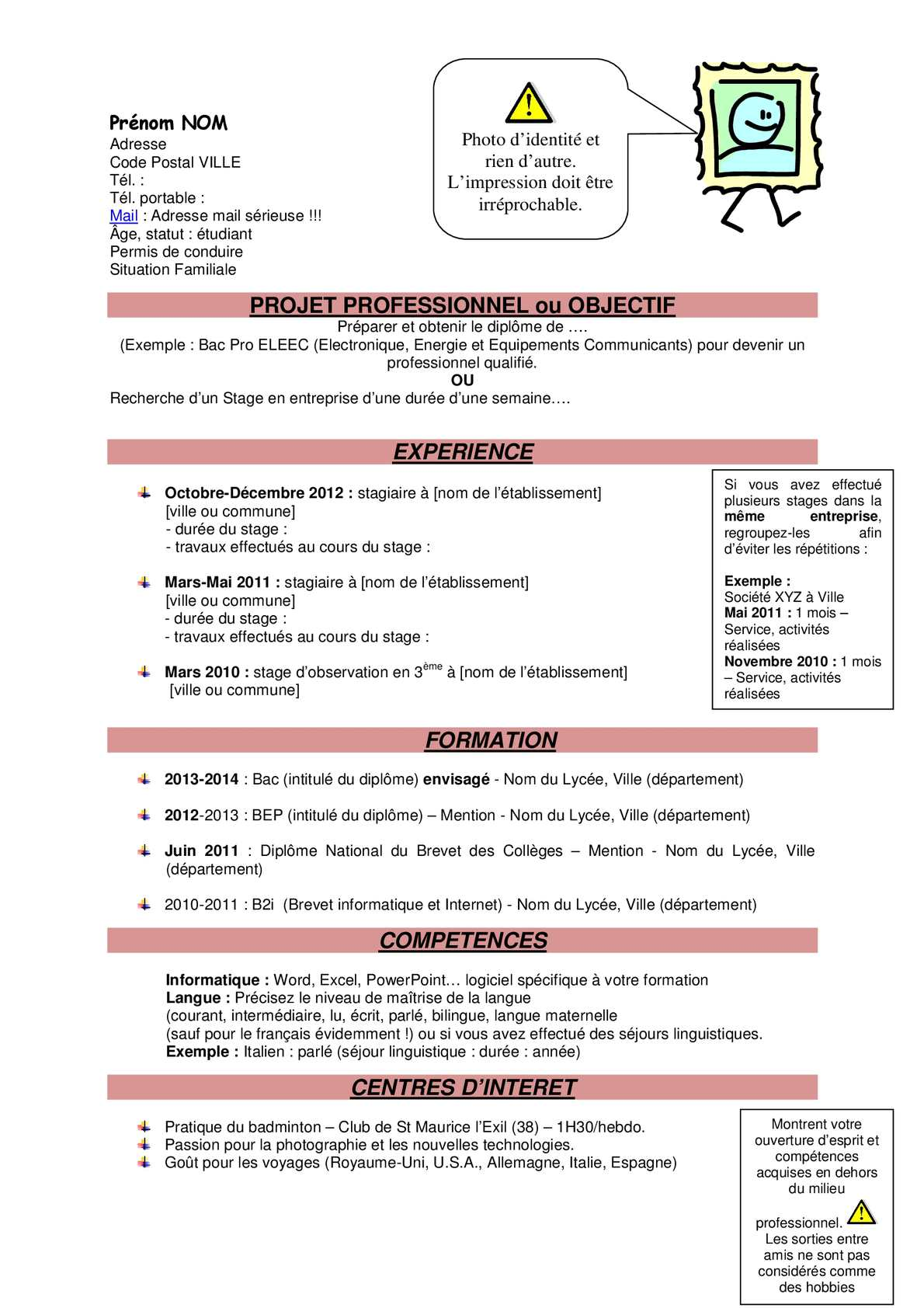 Calameo Exemple De Cv Bac Pro