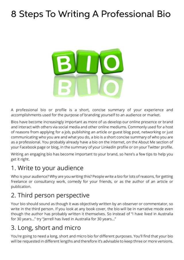 Calaméo - 14 Steps To Writing A Professional Bio