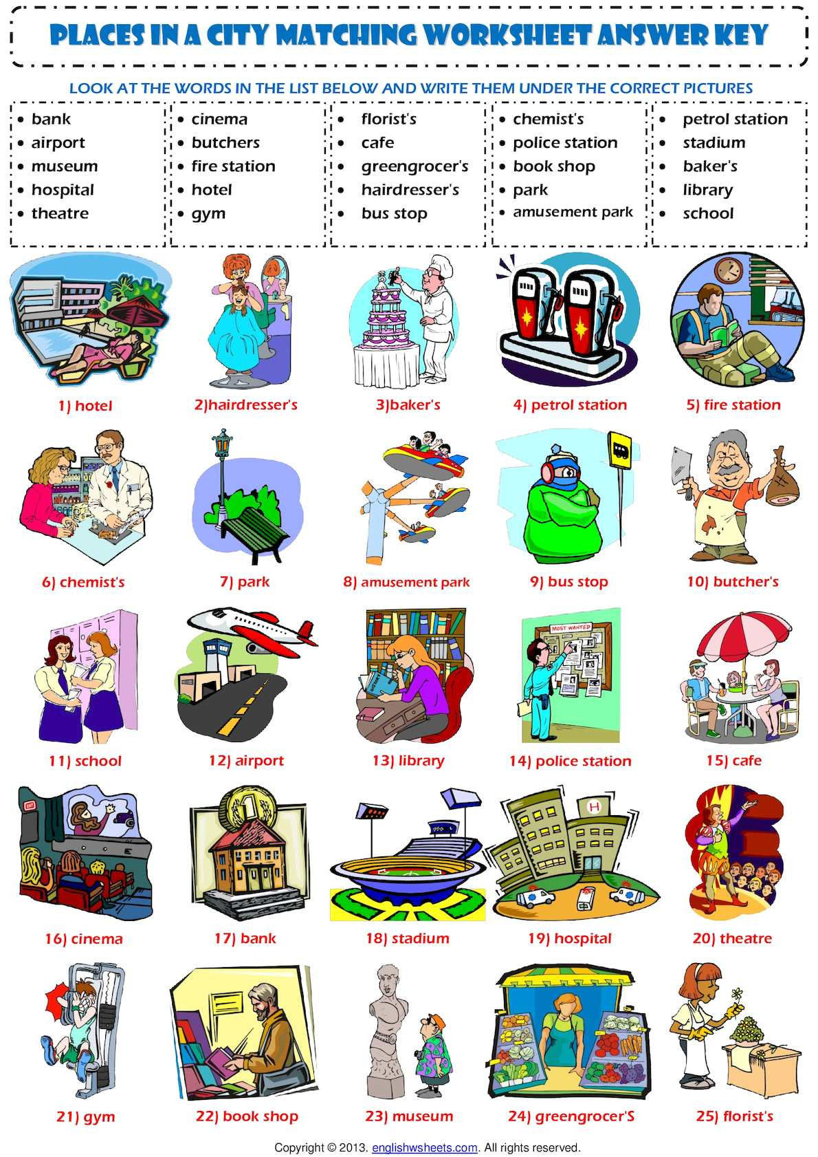Places In A City Matching Exercise Vocabulary Worksheet