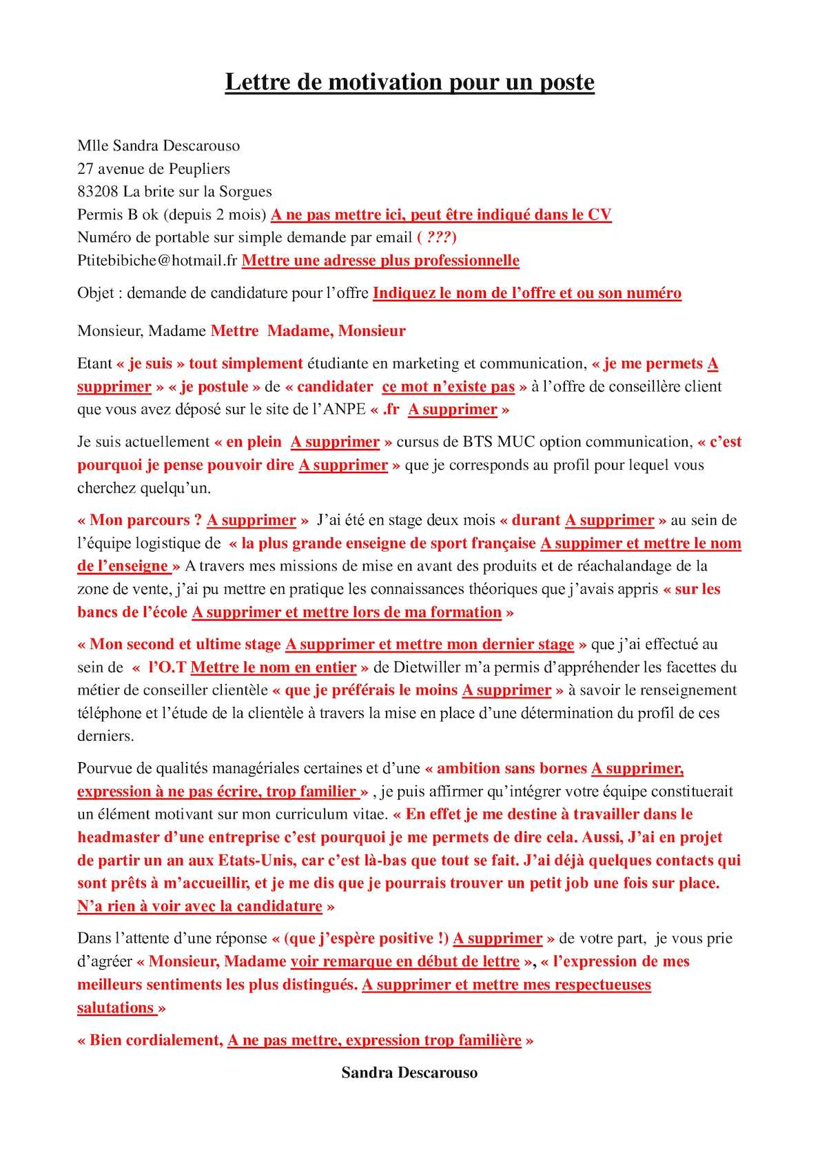 Calameo Exemples De Mauvaises Lettres De Motivation