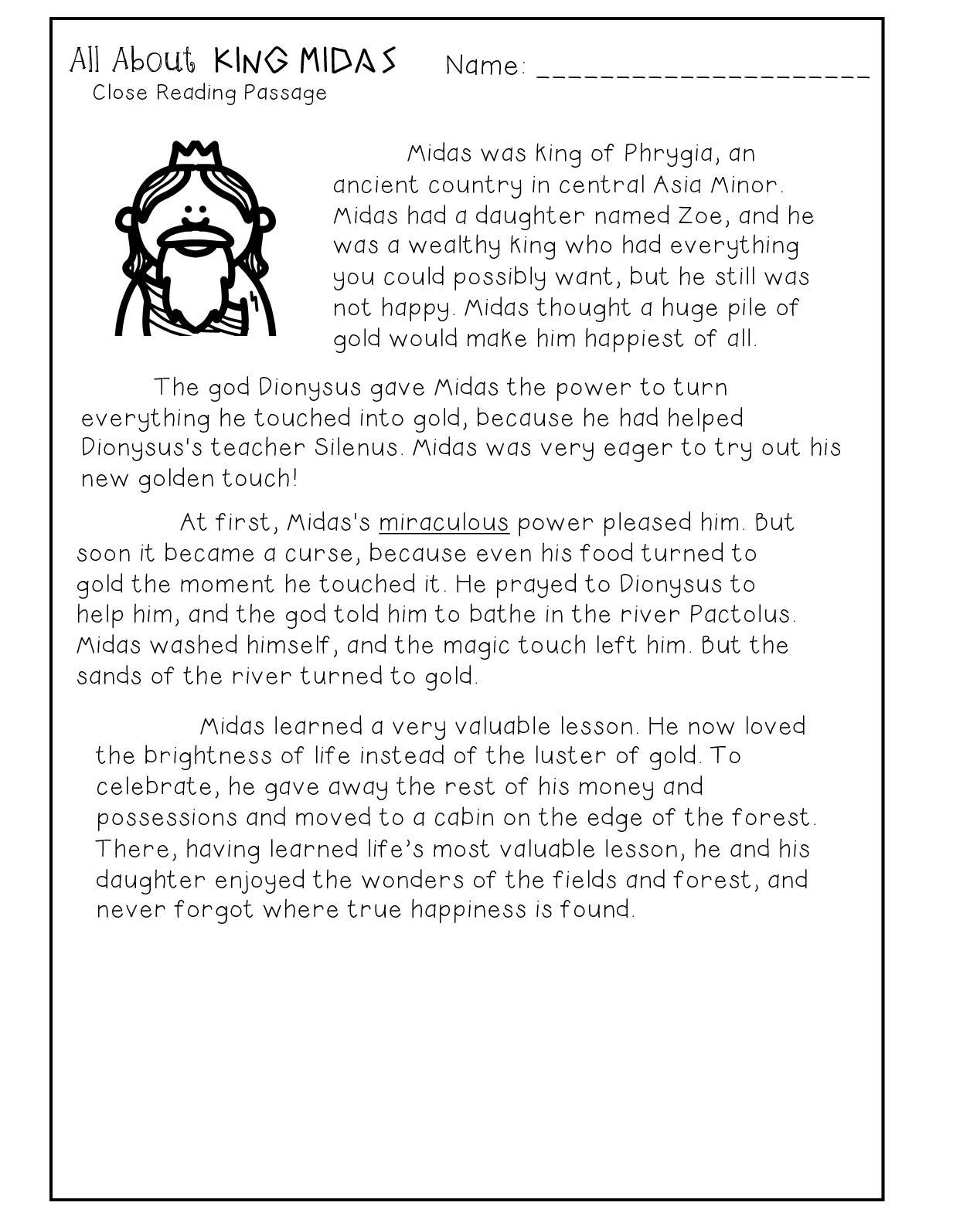 King Midas Greek Myth Close Reading Comprehension Passage