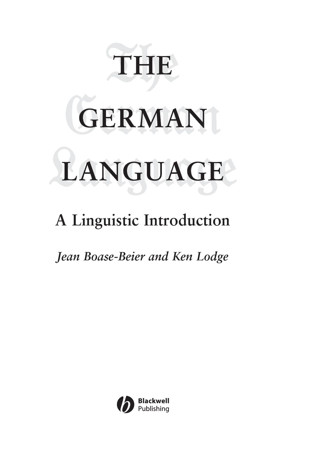 Calameo The German Language A Linguistic Introduction