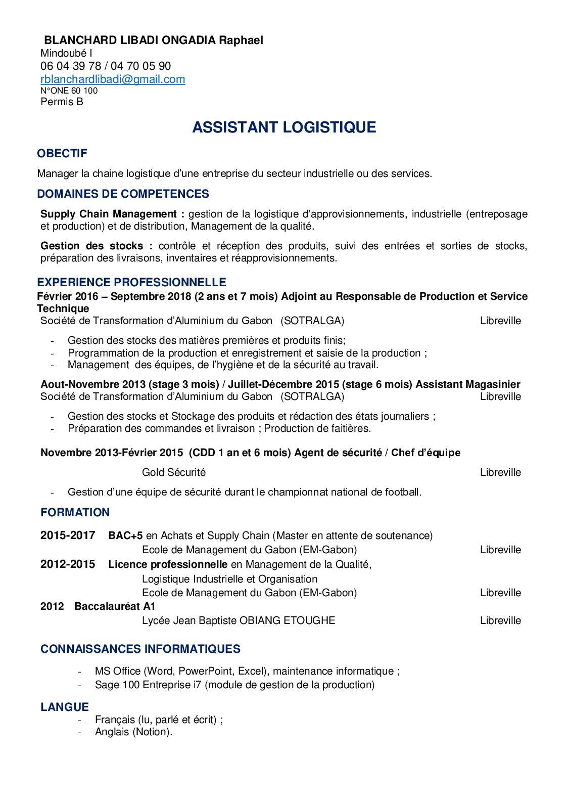 Calameo Raphael Cv Assistant Logistique