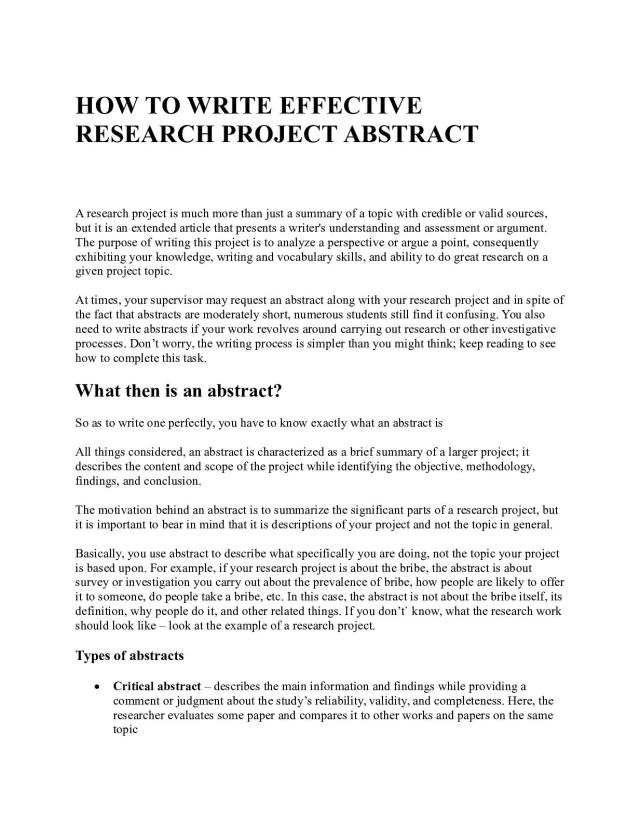 Calaméo - How To Write Effective Research Project Abstract