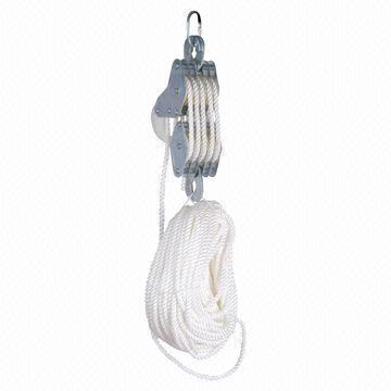 Rope Hoist with 3m Height of Lift, Satety Hook and Self-lubricating Nylon Pulley, Made of Steel