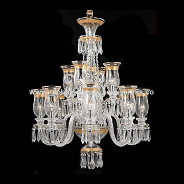 China Long Silver Chain Glass Gold Color European Baccarat Chandelier