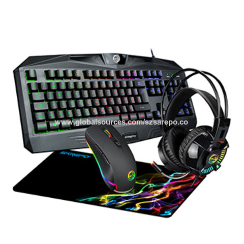 China Sarepo New Combo 4 In 1 Gaming Mouse Keyboard Headset Mouse Pad Gamer Kit With Nice Rgb Effects On Global Sources 4 In 1 Gamer Kit Sarepo Gaming Combo Rgb Gaming Mouse