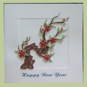 New Year Card With Quilling Paper 100 Hanhmade Original