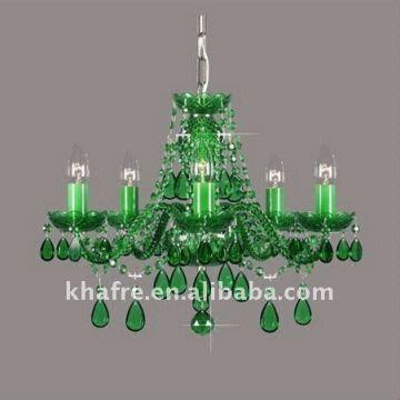 China Modern Green Crystal Chandeliers