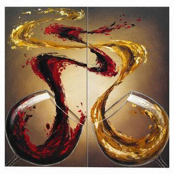 Hand Painted Modern Red Wine Fantasy Dancers Oil Painting