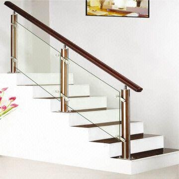 Stainless Steel Staircase Wooden Handrail Baluster And Brackets | Steel Stair Railing With Glass | Stair Residential Building | Free Standing | Tempered Glass | Steel Pipe | Floor Mounted Glass