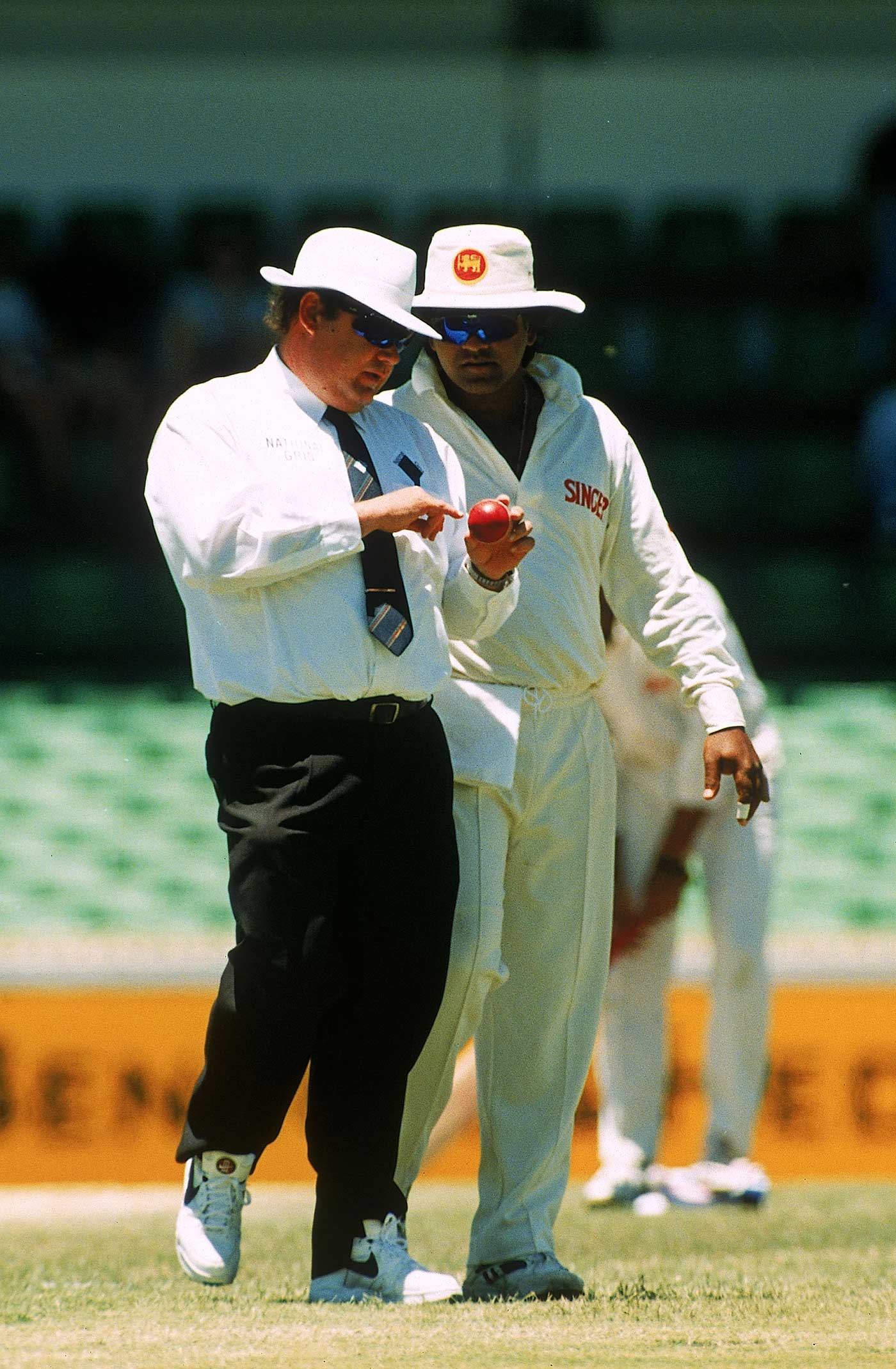 Taking a long, hard look at the ball with Peter Parker in Perth, 1995