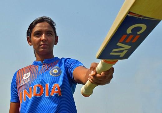 Harmanpreet Kaur points her bat