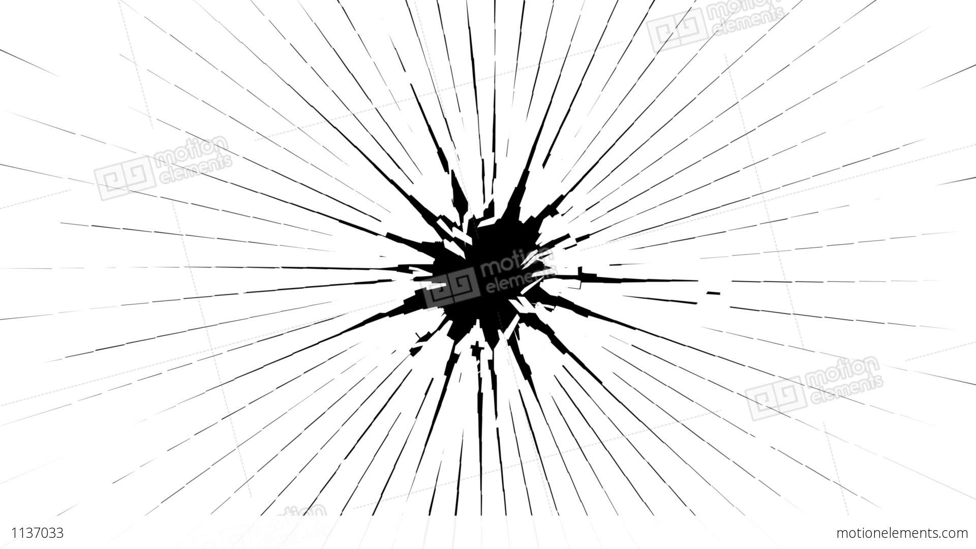 Bullet Hole Shattered Glass With Slow Motion Alpha Is