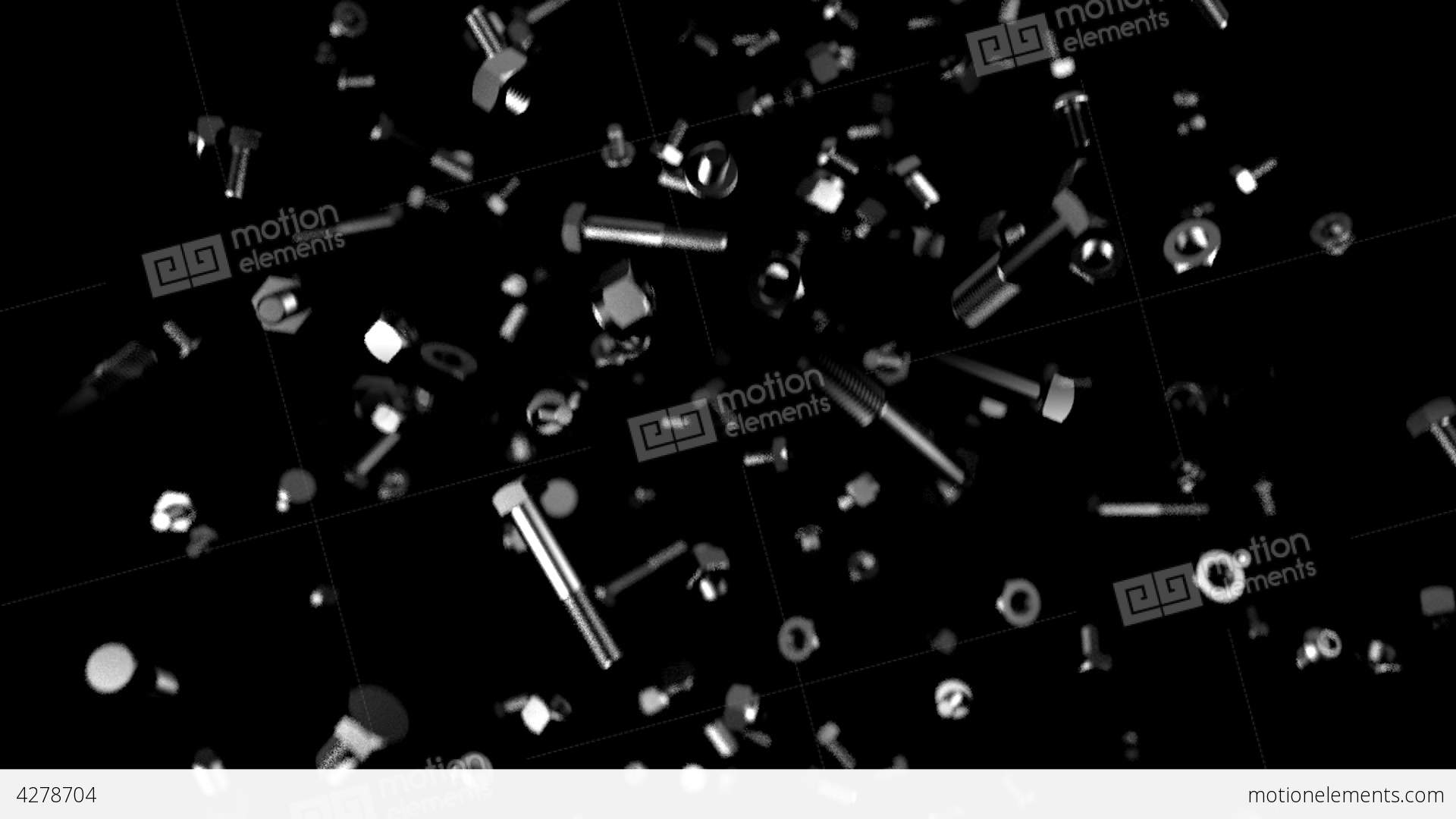 Nuts And Bolts Screws Falling Slow Motion Loop Stock