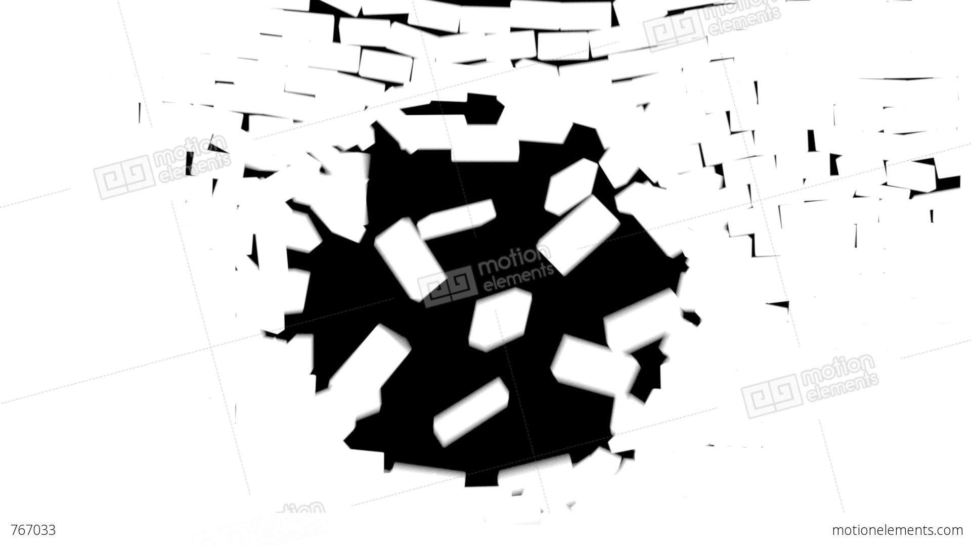 Wall Break White Brick Stock Animation