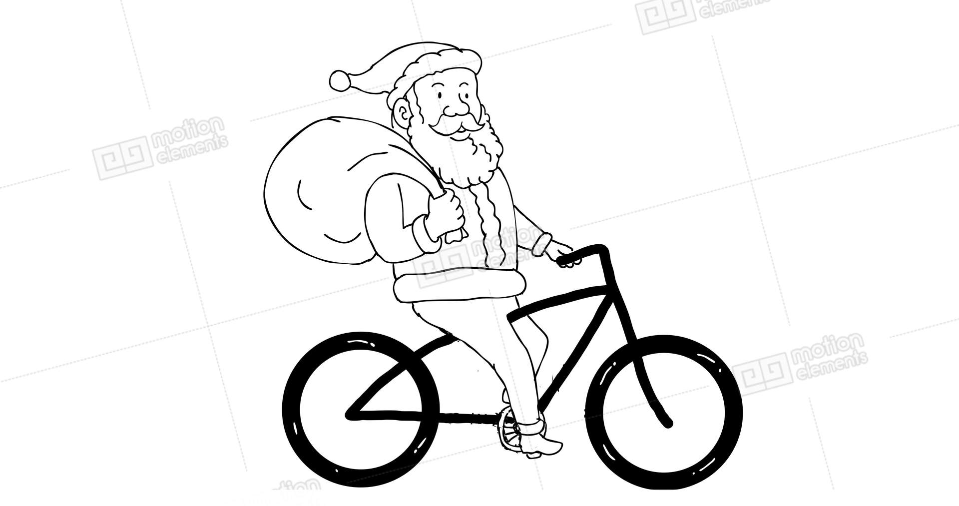 Santa Claus Riding Bicycle 2d Animation Stock Animation