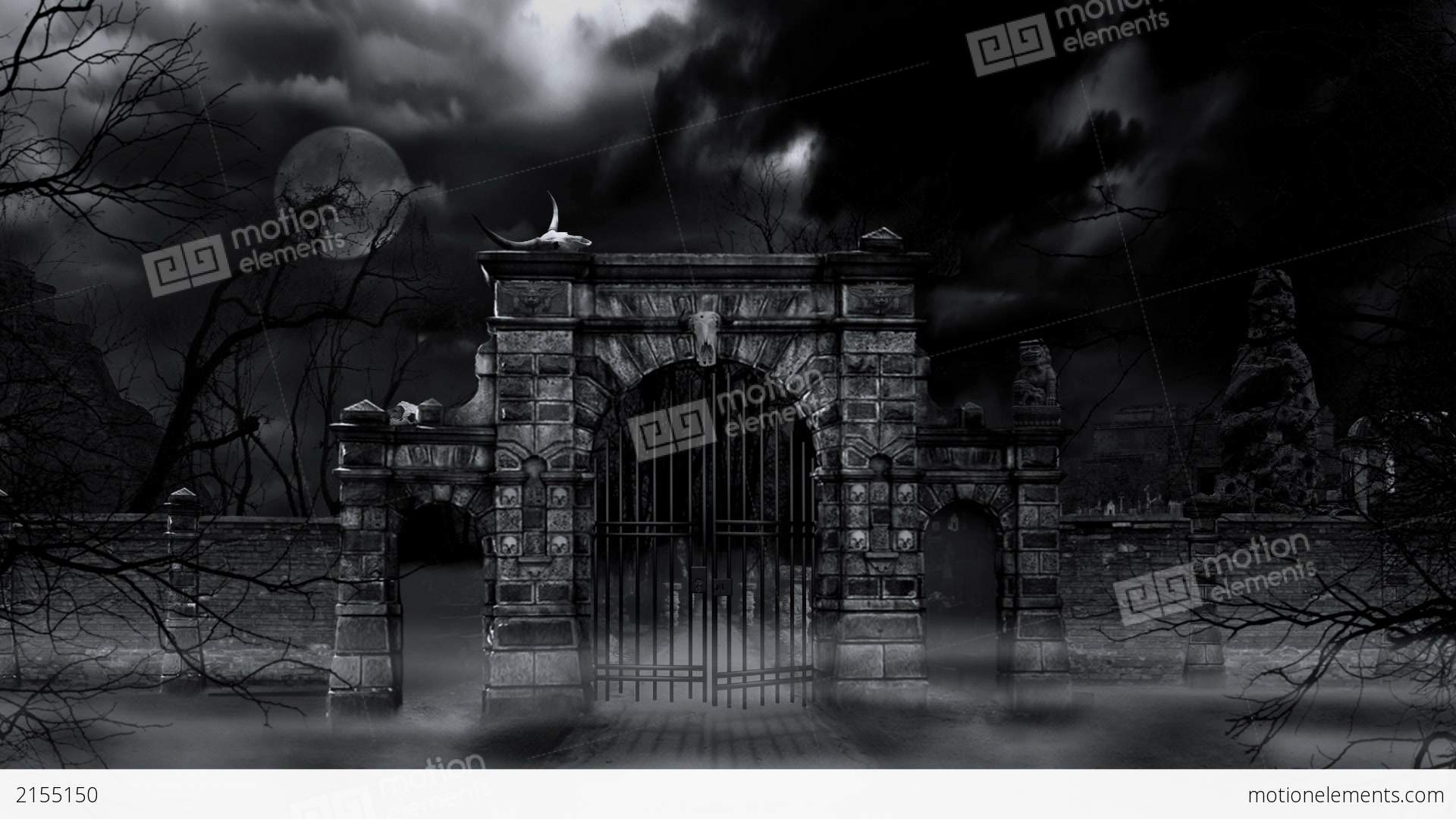 Vfx Templates  scary cemetery gate loop stock animation