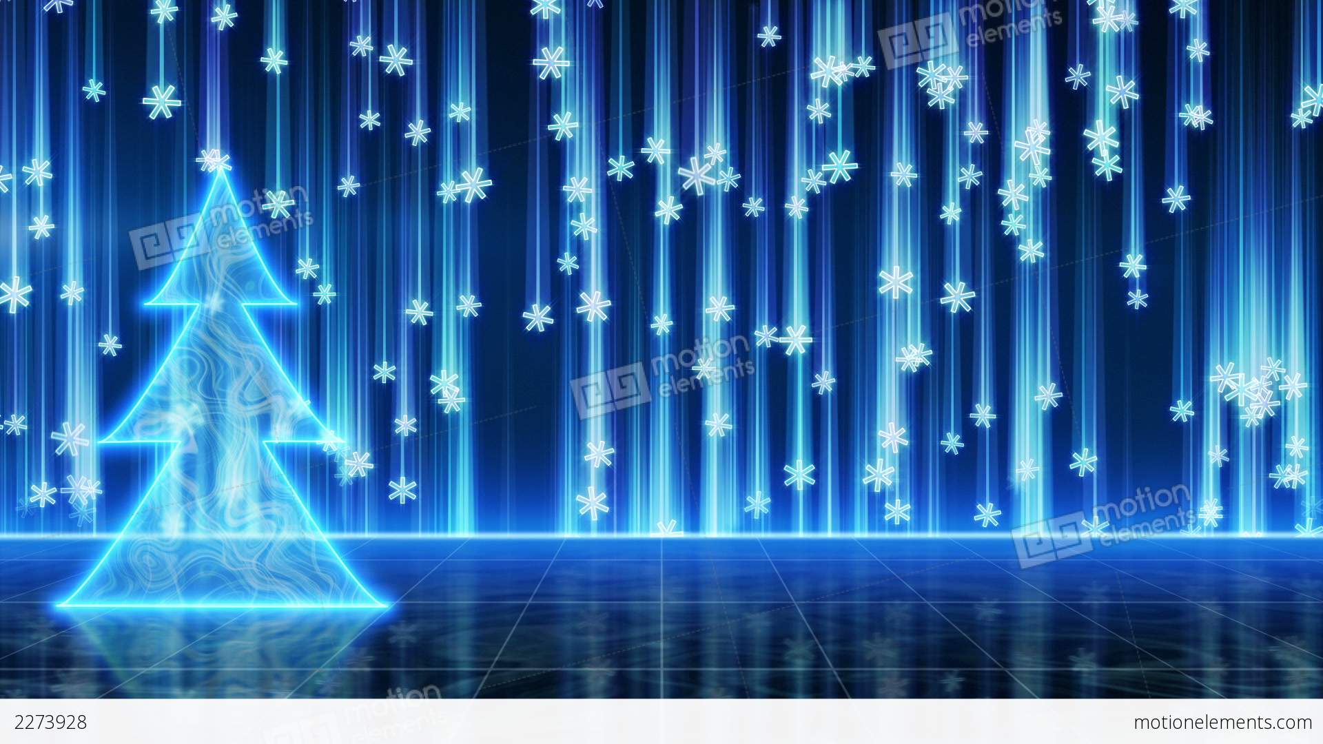 Futuristic Blue Christmas Tree And Snowfall Loop Stock