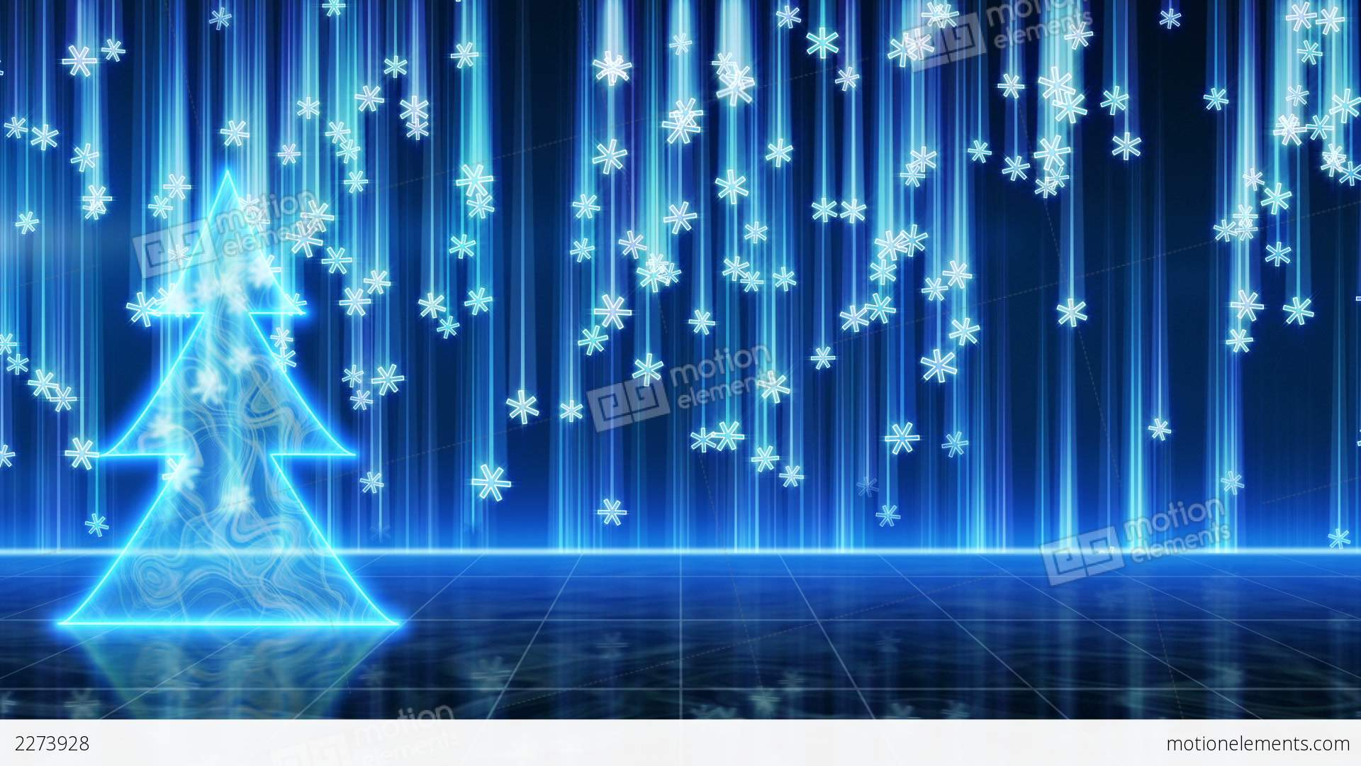 Futuristic Blue Christmas Tree And Snowfall Loop Stock
