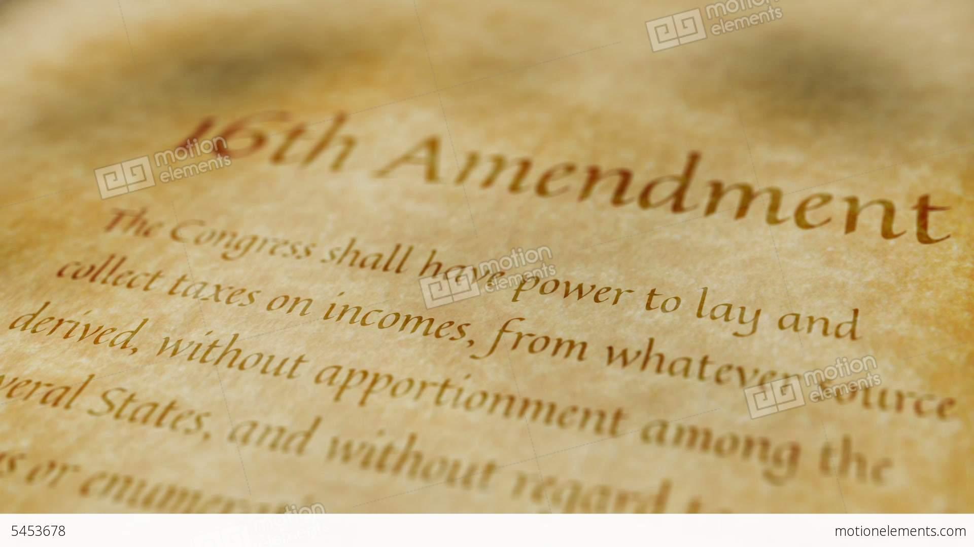 Historic Document 16th Amendment Stock Animation