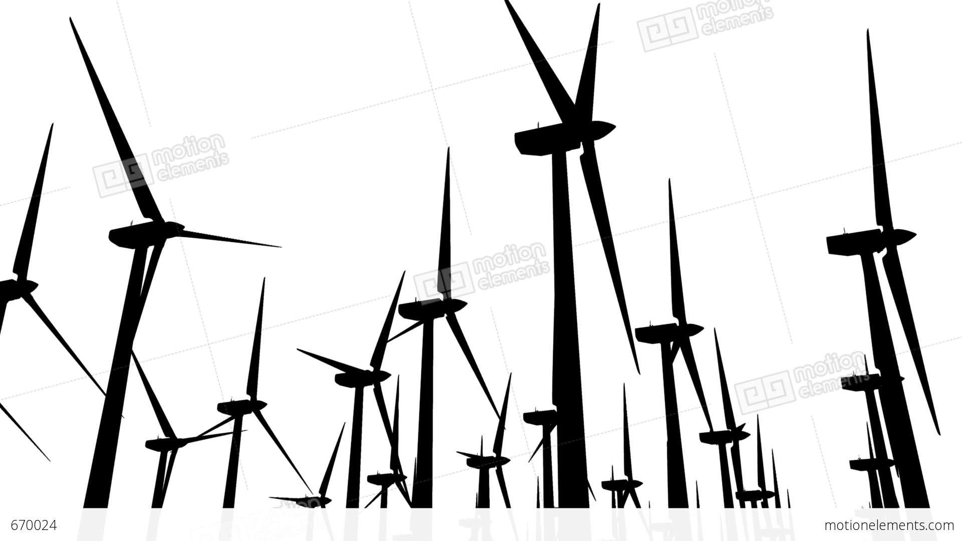 Wind Turbines Silhouette 04 Loop Stock Animation