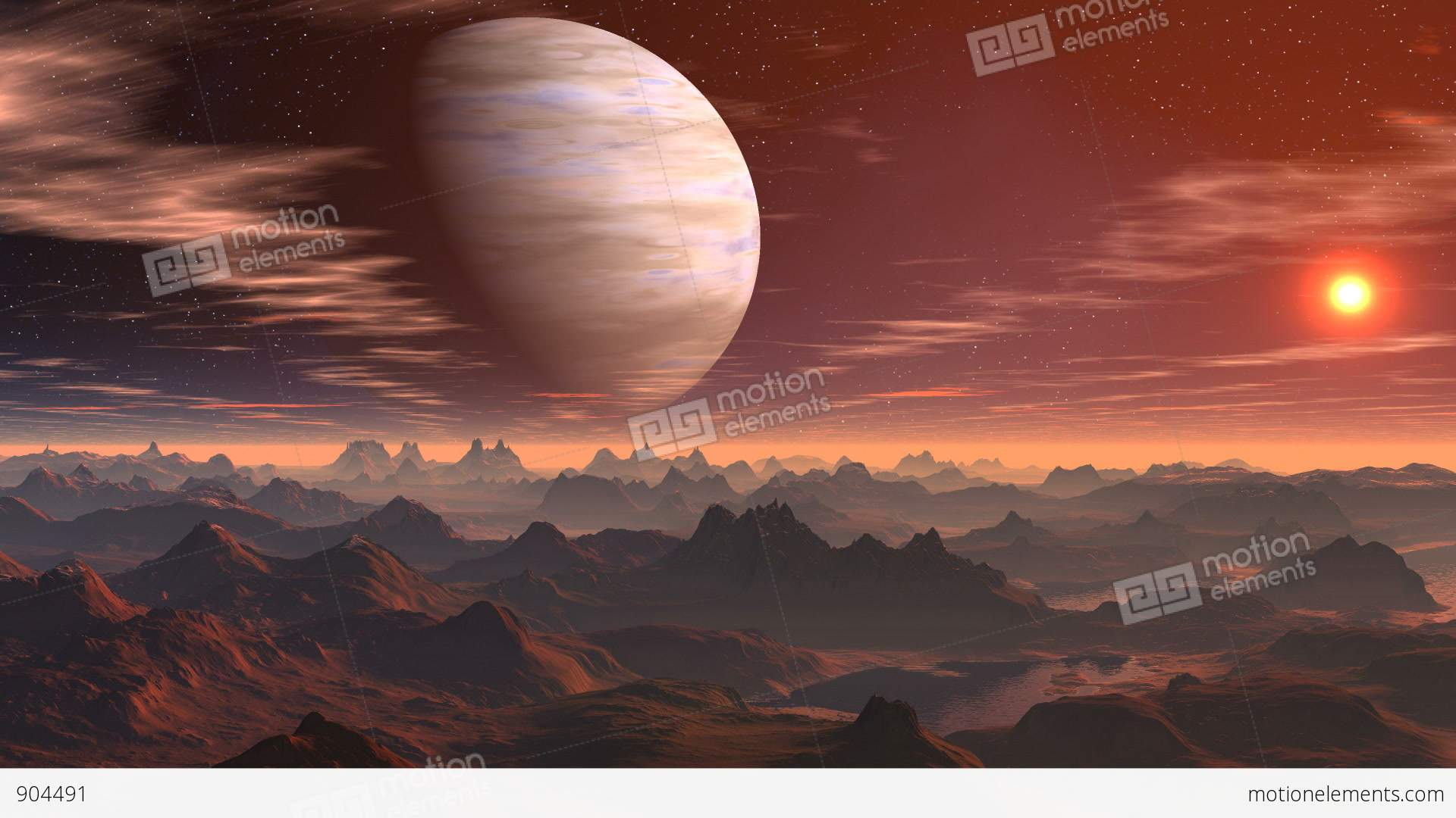 The Gas Giant And Sunrise On A Fantastic Planet Stock