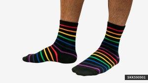 黑底,彩虹,半筒,運動,襪,black,rainbow,socks,sports