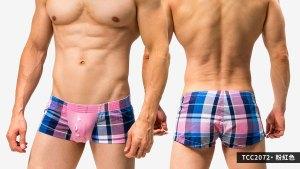 短版,囊袋,格紋,平口褲,男內褲,shortly,pouch,grids pattern,trunks,underwear,tcc207