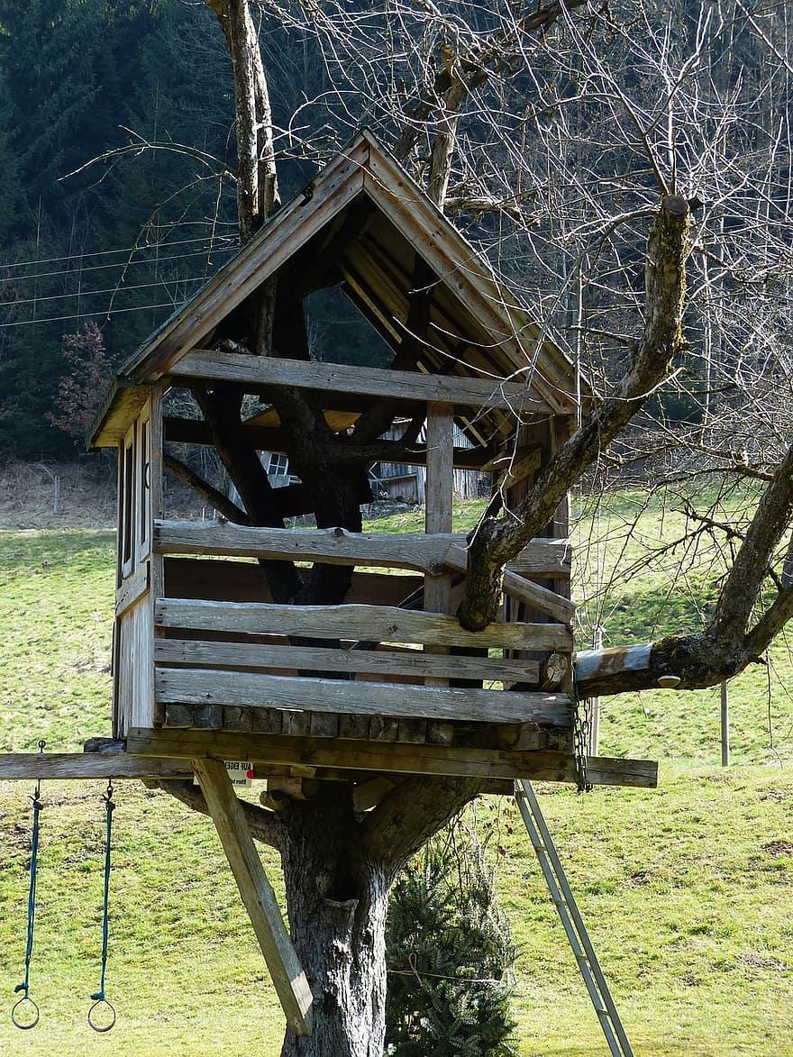 Treehouse Tree Hut House Woodhouse Tree Play Children Retreat Playful Lebensmittelpunkt Boards Nails Pikist