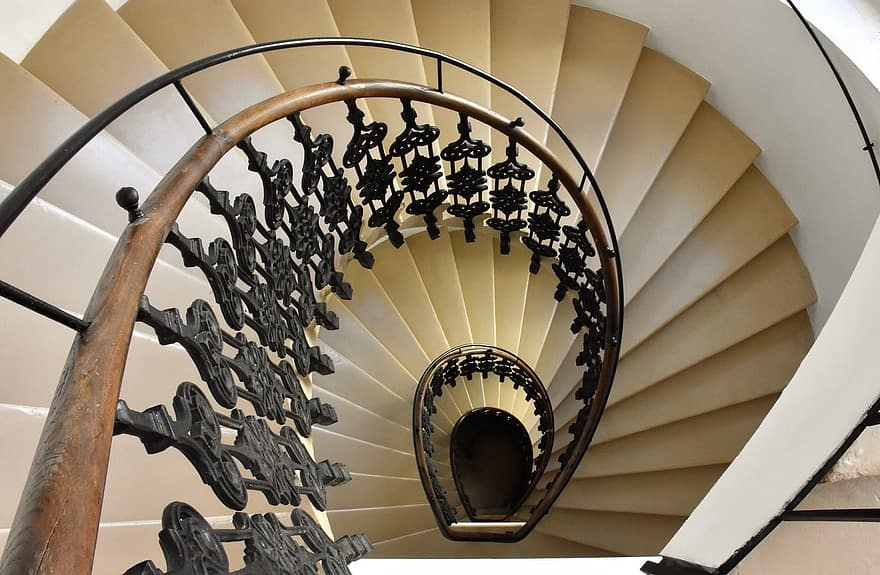 Staircase Railing Biedermeier Spiral Spiral Staircase   Wrought Iron Circular Staircase   Wooden   Living Room   Artistic   Rail   Modern