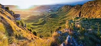 landscape, mountains, valleys, hills, fields, grass, sunshine, nature