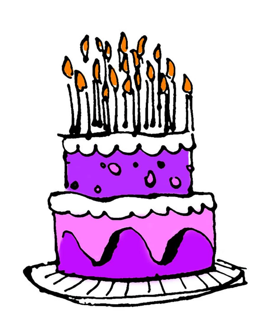 كعكة عيد الميلاد كيك باللون الوردي ثمانية عشر شموع على الكيك Pikist