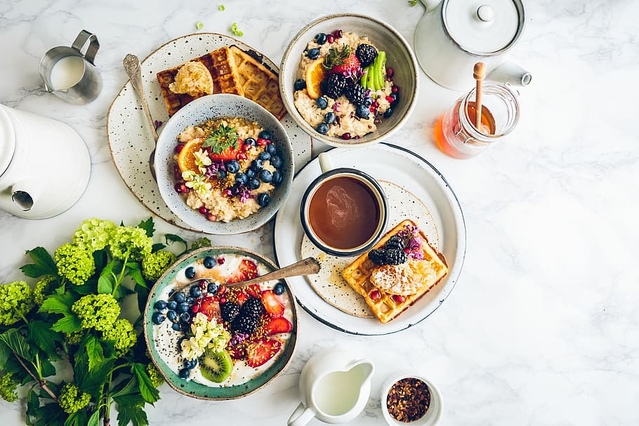 food, breakfast, table, healthy, green, milk, honey, waffles ...