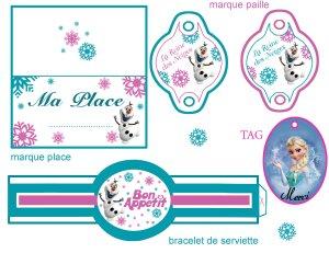 Supports imprimables gratuits pour votre table d'anniversaire Reine des Neiges