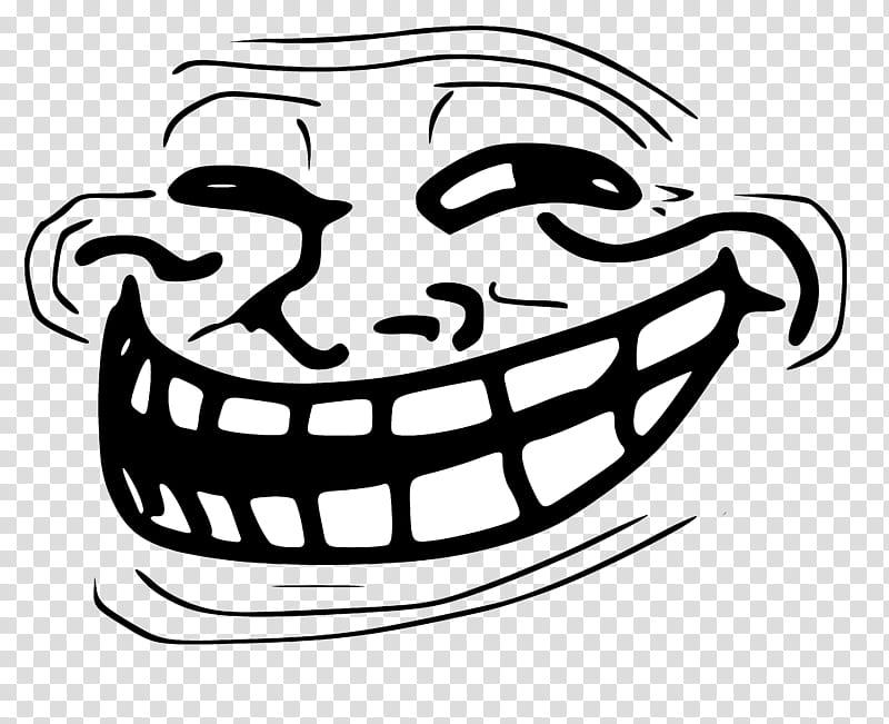 Trollface Black And White Meme Illustration Transparent