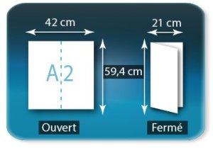 Dépliants / Plaquettes ouvert A2 420x594mm - fermé 210x594mm plié 1 pli type de pliage