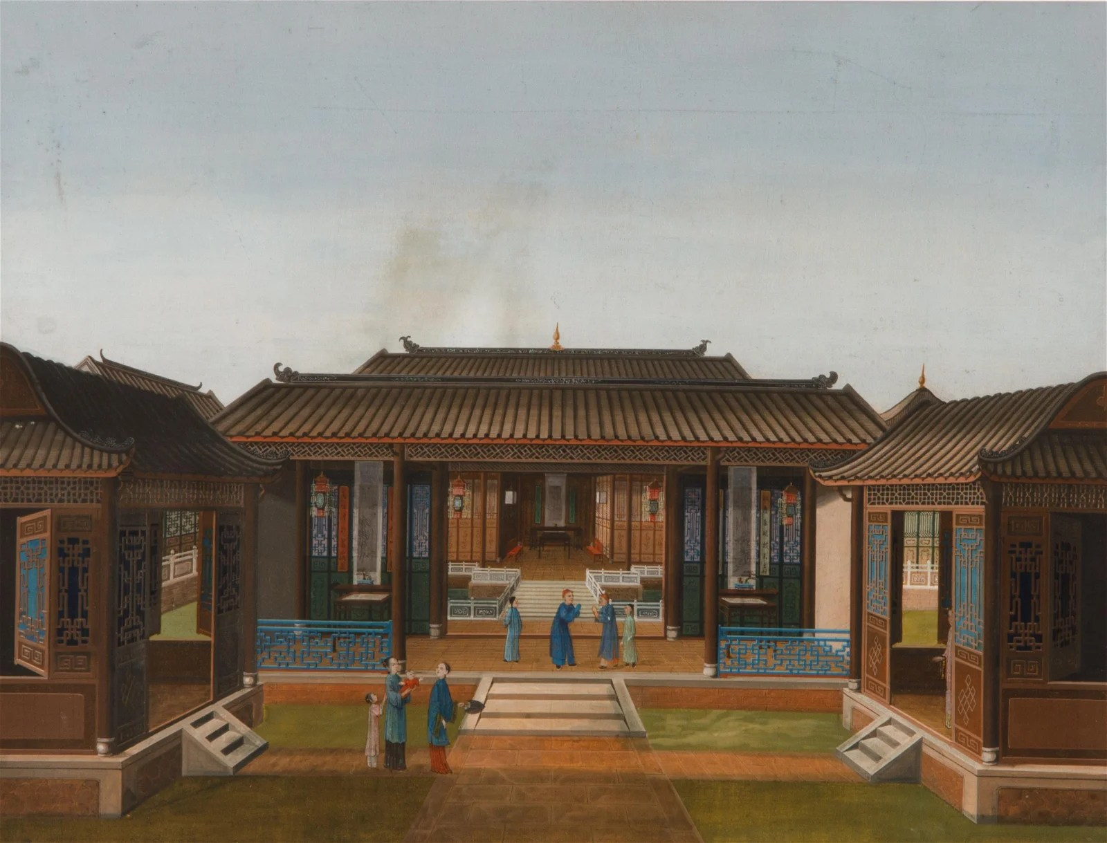 CHINESE EXPORT GOUACHE PAINTING OF DOMESTIC SCENE