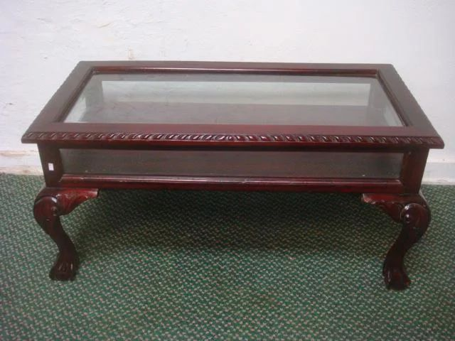 glass top and sides display coffee table