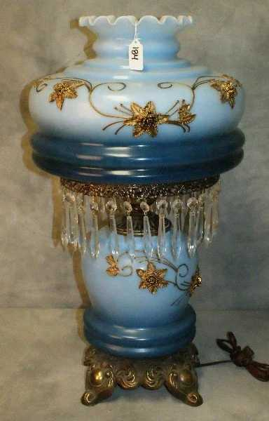 Antique Blue Glass Hurricane Lamp