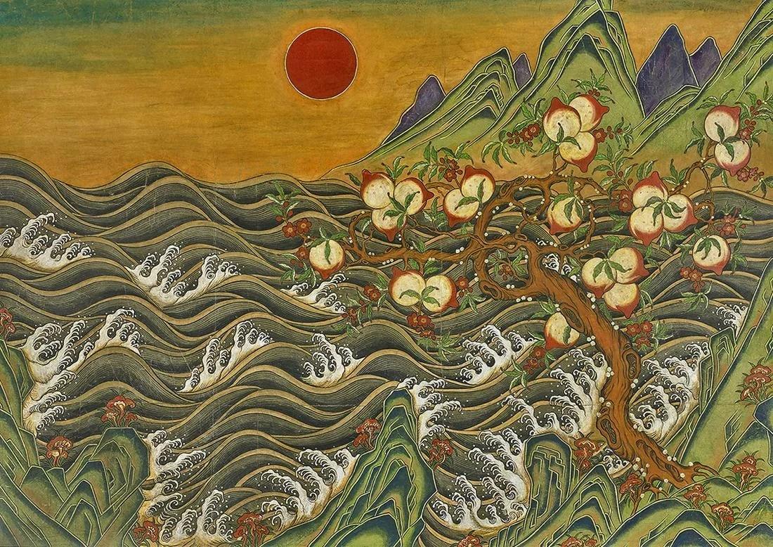 Large Korean Painting on Paper