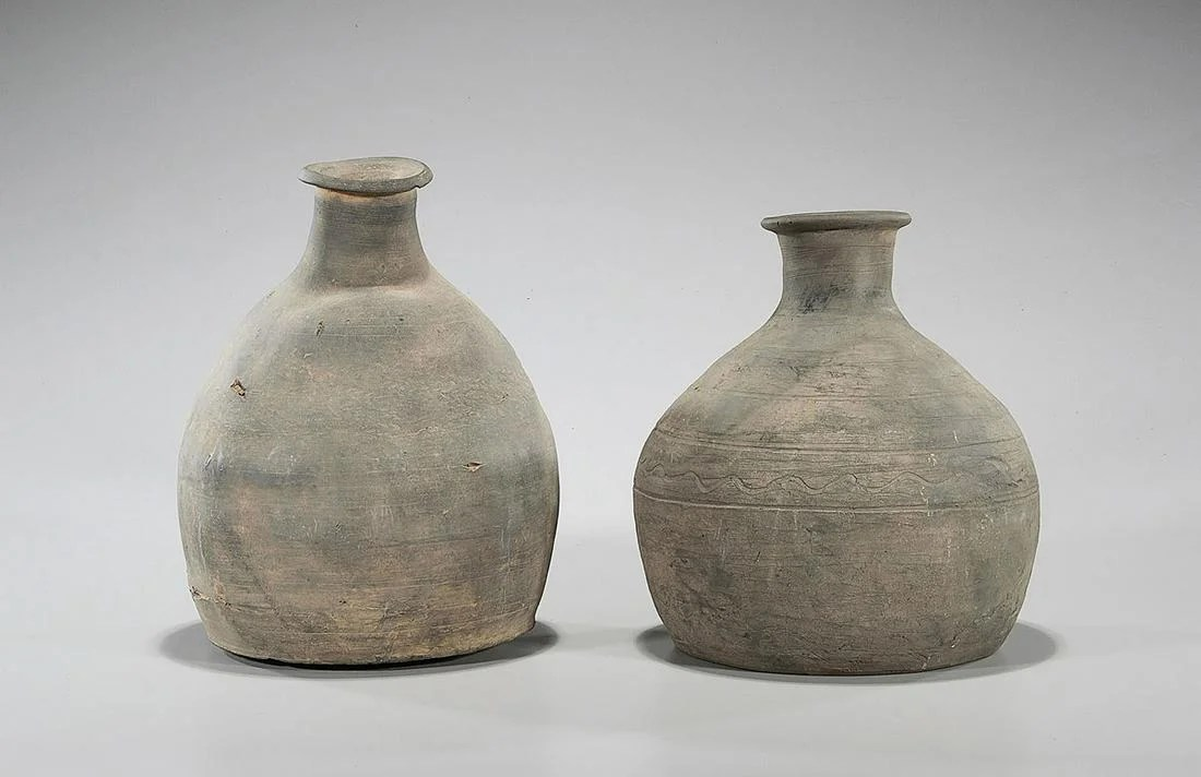 Two Korean Unglazed Ceramic Jars