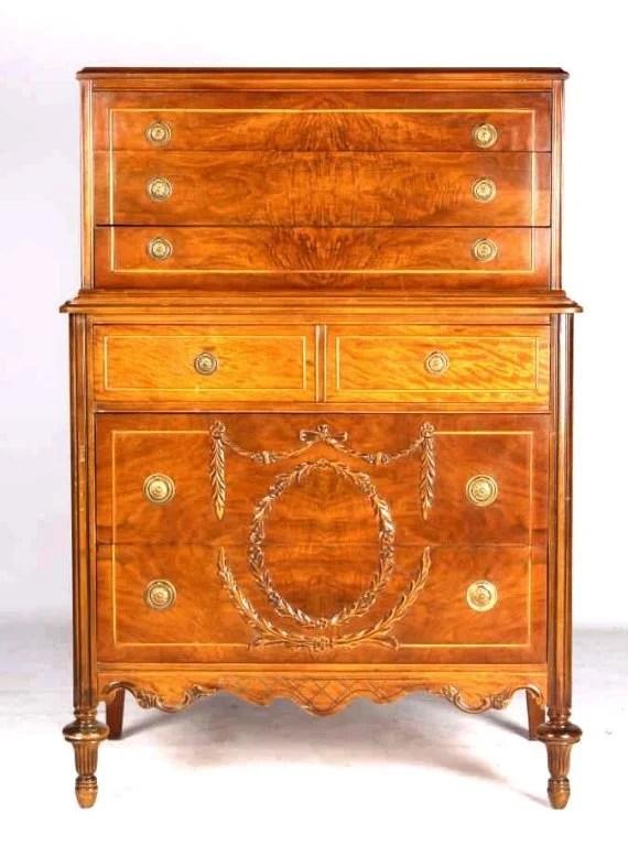 Huntley Furniture Highboy Ornate Dresser 1929 1935 Lot 222